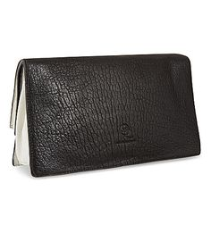 MCQ ALEXANDER MCQUEEN Soft leather foldover clutch (Black/white