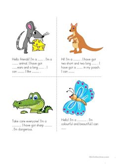 Animals worksheet - free esl printable worksheets made by teachers. Learning English For Kids, English Lessons For Kids, Kids English, English Reading, Learning Italian, Teaching English, Learn English, Animal Worksheets, 1st Grade Worksheets