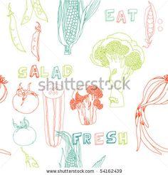 stock vector : vegetables seamless pattern