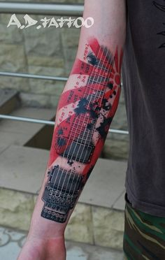 In love with trash polka style! Guitar Tattoo Design, Music Tattoo Designs, Music Tattoos, Tattoo Designs Men, Body Art Tattoos, Tatoos, Trash Polka Tattoos, Tattoo Trash, Music Tattoo Sleeves