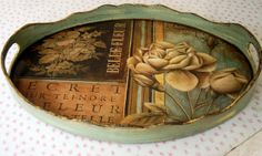 love the tattered blue color Decoupage Wood, Decoupage Vintage, Decoupage Ideas, Modge Podge Projects, Painted Trays, Painted Wood, Hand Painted, Wood Tray, Kitchen Paint