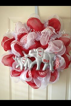 Delta Sigma Theta inspired Wreath by DazzlinDoorzbyKristi on Etsy, $50.00