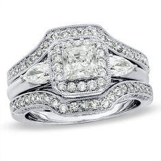 2 CT. Princess-Cut Diamond Bridal Set