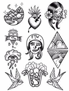 Babes Ride Out East Coast 3 Tattoo Flash - Tattoos&pircings - Flash Art Tattoos, Tattoo Flash Sheet, Tattoo Old School, Old School Tattoo Designs, Kritzelei Tattoo, Doodle Tattoo, Samoan Tattoo, Mini Tattoos, Small Tattoos