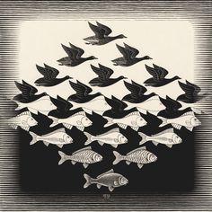kompajunior:  M.C. Escher - Sky and Water I, June 1938, Woodcut, 435 x 439 mm