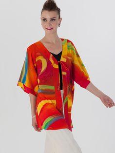 #AdoreWe #StyleWe Designer Kimonos - Designer Diane Freis Red Printed Half Sleeve Abstract H-line Kimono - AdoreWe.com