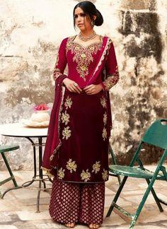 Cherry Pink & wine Velvet Suit With Plazo