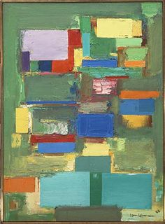 Morning Mist by Hans Hofmann, 1958 Oil on Canvas, Green Painting Abstract