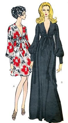 Retro Vintage Vogue 7630 : Misses' One-Piece Gown 70s Fashion, Fashion History, Vintage Fashion, Style Fashion, Fashion Tips, Moda Retro, Moda Vintage, Vintage Outfits, Vintage Dresses