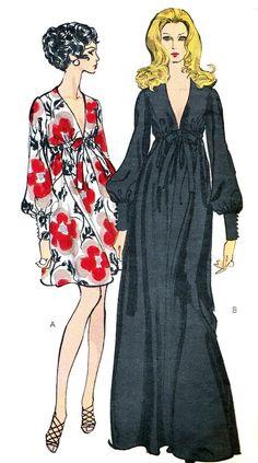 Vogue 7630 : Misses' One-Piece Gown || 1969