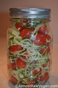 AlmostRawVegan.com - The PERFECT lunch on the GO! ;-)  http://almostrawvegan.com/2013/01/28/zucchini-noodle-cherry-tomato-salad/