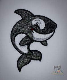 Who doesn't love a cute little Orca! Custom Embroidery, Machine Embroidery Designs, Printing, Stitch, Cute, Full Stop, Machine Embroidery Patterns, Kawaii, Stitching
