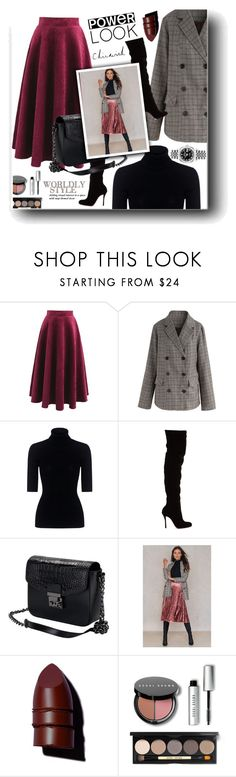 """Power look"" by snezanamilunovic ❤ liked on Polyvore featuring Chicwish, Theory, Christian Louboutin, Glamorous, Anastasia Beverly Hills, Bobbi Brown Cosmetics, Rolex, chicwish, girlpower and powerlook"