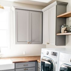 Happy Monday! As we design our interiors, we've noticed that incorporating different textures, design elements, and tones can really help… Laundry Room Inspiration, White Sink, Grey Cabinets, Different Textures, Happy Monday, Custom Homes, Design Elements, This Is Us, Home Appliances