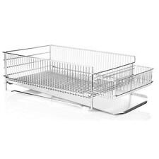2 Tier Adjustable Stainless Steel Dish Drying Rack Kitchen Cutlery