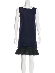 Navy Lanvin silk sleeveless knee-length dress featuring raw-edge trim throughout, scoop neckline and pleated hem. Lanvin, Silk, Formal Dresses, Clothing, Women, Fashion, Dresses For Formal, Outfits, Moda