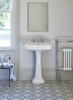 Looking to create a traditional bathroom scheme? It's time to get creative! Making a moodboard and gathering ideas are. Bathroom Mirror Design, Barn Bathroom, Bathroom Basin, Small Bathroom, Bathroom Ideas, Bathroom Inspo, Bathroom Wallpaper Fish, Burlington Bathroom, Cloakroom Sink
