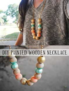 DIY: painted wooden necklace, I don't usually like this chunky necklaces, but its just to cute!