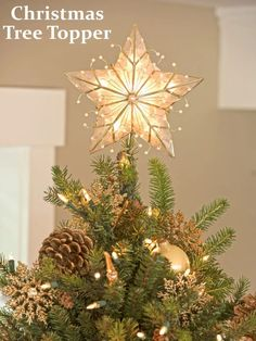 Christmas Tree Topper | Traditionally, we insert here a big golden or silver star. Angels are also good. Again, you have to make sure that the dimension of the tree topper ornament is fit, because you don't want that ornament to touch the ceiling of the room and to damage the tree's perspective. #ChristmasTreeStar #DecorateChristmasTree