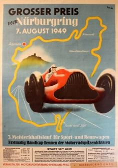 Grand Prix vom Nurburgring Spitzmuller BMW, 1949 - original vintage poster by R Kaster listed on AntikBar.co.uk