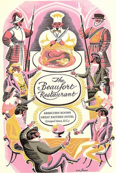 Menu card for the Beaufort Restaurant, Abercorn Rooms, Great Eastern Hotel, Liverpool Street station, London by Eric Fraser for the British Transport Commission Hotels, c1955