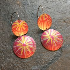 Anodised aluminium drop earrings - petal pink,silver grey and gold on wires One Hit Wonder, Grey And Gold, Printing On Fabric, Jewelry Making, Drop Earrings, Create, Summer Days, Prints, Pattern