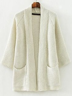Beige Long Sleeve Pockets Casual Knit Loose Cardigan - abaday.com