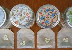 Homemade tea bags and jars! I did this and they came out really cool