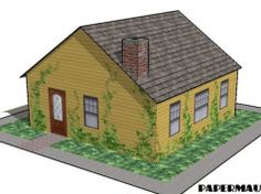 Simple Family House Free Building Paper Model Download