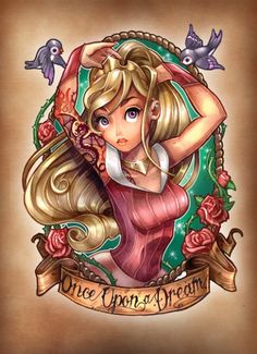 8 Very Cool Disney Princess Pinup Tattoos - So neat to see well known characters seen through a new styistic lense. This is taking Aurora and taking inspiration from the old sailor pinup tatoos. Neat huh?