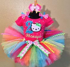Hot Pink Bling Hello Kitty Birthday Girls Personalized Tutu Outfit