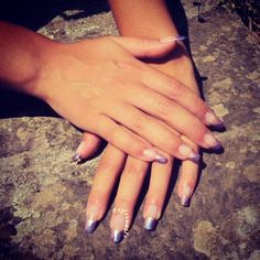 Bicolored purple glittered diagonal french manicure  #nails #nailart #frenchmanicure #nailpolish #naillacquer #glitter