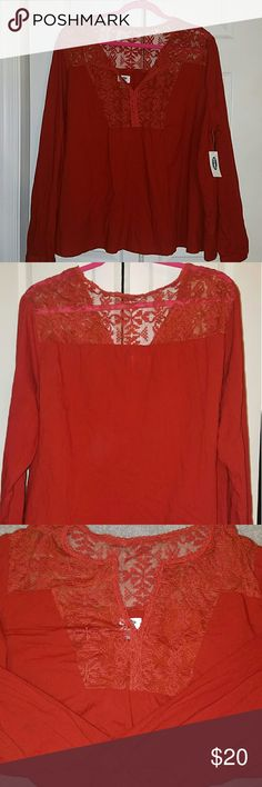 Peasant style shirt Rusty red-orange color. 100% cotton. Comfortable, flow fit. Pretty lace embroidery design front & back. V neck. Loose fit at the bottom. Never worn Old Navy Tops