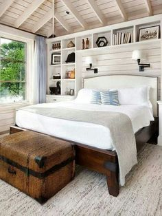 Bedroom..love the sconce lamps, built-in book shelf as bedsides.