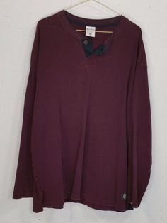 Columbia Mens Plum Purple 100% Cotton Long Sleeve One Button Henley Shirt XL #Plum #Henley