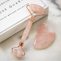 Verdanesce Rose Quartz Facial Massage Collection - 2 in 1 Gemstone Facial Roller & Gua Sha Set For Anti-aging De-puffing Relaxation Beauty Care, Beauty Skin, Beauty Hacks, Massage Facial, Face Roller, Skin Roller, Nail Swag, Face Skin Care, Tips Belleza