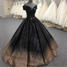 Bling Bling Sequins Gold/Black Ball Gown Prom Dresses Off Shoulder Formal Evening gown masquerade Masquerade Ball Gowns, Ball Gowns Prom, Ball Gown Dresses, Pageant Dresses, Quinceanera Dresses, 15 Dresses, Ombre Wedding Dress, Black Wedding Dresses, Burgundy Wedding