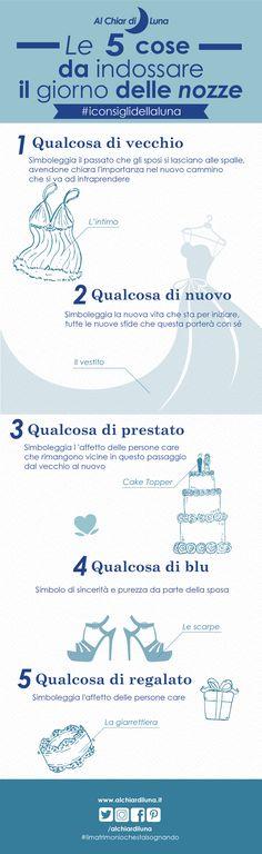 #iconsiglidellaluna Le 5 cose da indossare il giorno delle nozze #infografica #wedding #looksposa #matrimonio #infografiche