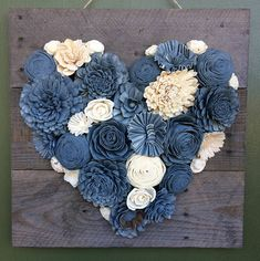 This listing is for 6 upcycled denim flowers choose from 2 and 1 2 inches 3 inches or 4 inches the flowers will come in a variety of shades of denim each petal has been hand cut and reassemble the fabric has been treated for fraying and stiffened the Jean Crafts, Denim Crafts, Diy And Crafts, Wood Flower Bouquet, Sola Wood Flowers, Burlap Flowers, Fabric Flowers, Artisanats Denim, Country Wedding Flowers