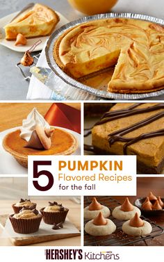 Enjoy the flavors of fall with these 5 pumpkin flavored recipes from HERSHEY'S. From Pumpkin Spice Blossom Cookies to Pumpkin Spice Swirl Cheesecake Pie, these Thanksgiving recipes are the perfect way to celebrate fall and could not be easier to make. Share some with your family today!
