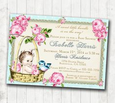 Baby Shower Invitation for girl Baby Shower Invitation - Floral, Vintage, Pink, Aqua, Gold, Roses, Tiffany - DIY Printable