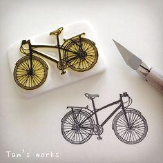 自転車はんこ無事完成♪ #消しゴムはんこ#スタンプ…