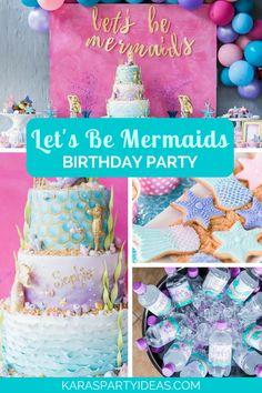 "Kara's Party Ideas ""Let's be Mermaids"" Birthday Party Joint Birthday Parties, Winter Birthday Parties, 8th Birthday, Birthday Party Favors, Birthday Ideas, Mermaid Cookies, Mermaid Party Decorations, Little Mermaid Parties, Party Ideas"