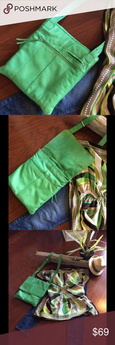 Green Leather NINO BOSSI Purse👗👗👗👗 Soft, Kelly Green Leather. Strap length depends on you. Silver metal buckle and grommet holes. Barely used, like new. Great for traveling! Lots of zippered pockets. Large enough for wallet, cell phone, small makeup bag, etc. Google this designer, you will see, you are gettin a steal on this bag. Nino bossi Bags Crossbody Bags