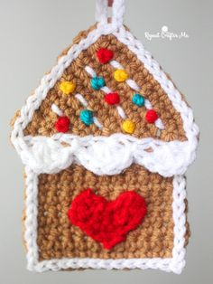 Crochet Gingerbread House Ornament - Repeat Crafter Me Christmas Crochet Patterns, Crochet Christmas Ornaments, House Ornaments, Holiday Crochet, Christmas Items, Crochet Home, Crochet Crafts, Yarn Crafts, Crochet Projects
