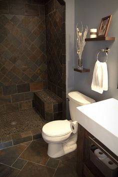 New Slate Bathroom Contemporary Lower Level Bath Subsute Forwood Plank Tiles White Prefab