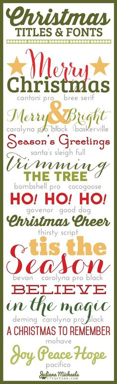 Christmas Titles and Fonts from @julianamichaels