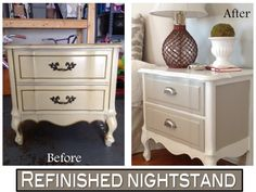 Two It Yourself: Refinished nightstand in DIY Chalk Paint (Before and After photos)#diy  #homedecor