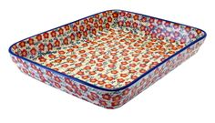 """9""""x11"""" Rectangular Baker (Floral Revival Red) from The Polish Pottery Outlet"""
