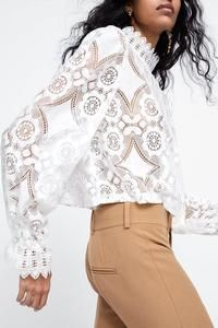 Casual Lace Long Sleeves Polyester Stand-up Collar Blouses, veryvoga Working Girl, White Lace Blouse, Petal Sleeve, Winter Fashion Casual, Fashion Spring, Casual Fall, Estilo Boho, Lace Tops, Lace Blouses